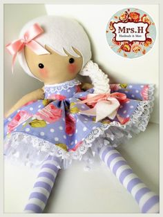 Large doll with skirt tutu in white and purple