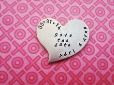 Save the date metal heart magnets (25) on Etsy, $135.00