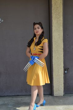 In this shirtdress, your date at the ice cream parlor is a stylish one! The bright goldenrod hue, fabric-covered buttons, and slight. Retro Vintage Dresses, Retro Dress, Fancy Dress, Dress Up, Dc Costumes, Cool Costumes, Costume Ideas, Yellow Tights, Yellow Dress