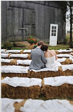 Hay bale ceremony seating