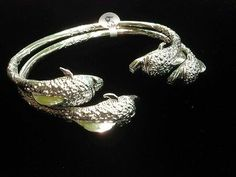 Pair Of Dolphin Head Handmade West Indian Sterling Silver Bangles