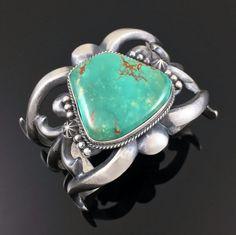 Large Navajo Cast Sterling Silver Royston Turquoise Bracelet by Harrison Bitsue | eBay