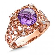 We're obsessed with all things Oro! Amethyst & Diamond Ring in 14K Rose Gold, Find this and more at Starnes Jewelers, www.starnesjewelers.com #starnes #colore