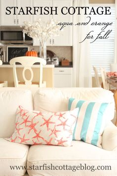 A coastal spin on fall decor...today on Starfish Cottage www.starfishcottageblog.com