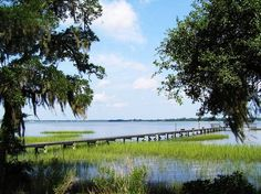 Blue skies, blue water and Spanish moss in the trees...oh my.
