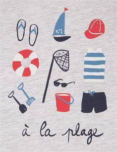 T-shirt manches courtes motif A la plage MONOPRIX design Florence Aurensan