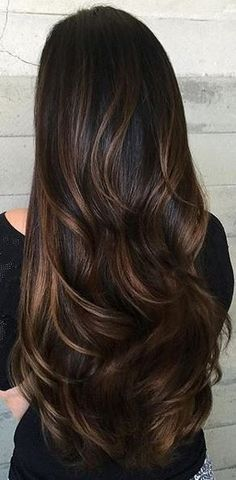 brunette hair color with caramel ribbons                                                                                                                                                                                 More