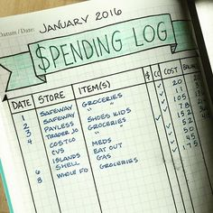 #planwithmechallenge - Financial. This is my spending tracker. When I don't use cash I use one credit card that I pay off each month. At the end of the year we use our points towards our annual Disneyland trip. #bulletjournal #planner #planneraddict