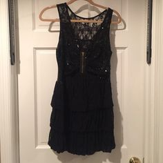Black party dress Black sequined and lace dress. Zipper on side Arden B Dresses Mini