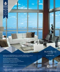The gleaming, Marquis Residences Miami tower enjoys unobstructed views of all of Miami. Real Estate Advertising, Real Estate Ads, Real Estate Branding, Real Estate Flyers, Ad Design, Flyer Design, Layout Design, Property Ad, Property Design