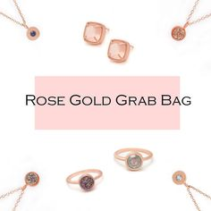 Rose Gold Jewelry Grab Bag    Our jewelry grab bag contains 2-3 pieces in rose gold metal. Each grab bag values between $100-$150.    There are over