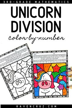 These unicorn-themed division color by number worksheets are a concrete way for students to practice division fluency. The division worksheets are perfect for 3rd-grade and 4th-grade classroom and homeschool math students. #mathwithraven