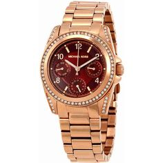 Michael Kors Mini Blair Multi-Function Red Dial Ladies Watch ($135) ❤ liked on Polyvore featuring jewelry, watches, michael kors watches, michael kors jewelry, michael kors, water resistant watches and red jewelry