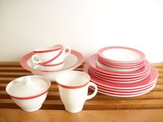 Pyrex Flamingo Pink Dinnerware Dishware Service by tatterandfray, $125.00. {I have the creamer and sugar bowl}
