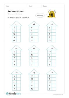 """NEW: A free math worksheet on """"computing houses"""" for the basic … - Bildung Math Addition Worksheets, 1st Grade Math Worksheets, First Grade Math, Preschool Worksheets, Montessori Math, Montessori Education, Math Charts, Learning English For Kids, Math School"""