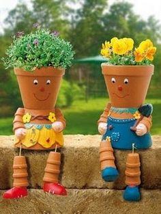 Terra cotta flower pot people — cute !!!