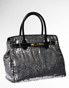 LOVE MOSCHINO  NORTH TO SOUTH SEQUINED SILK & PATENT LEATHER TOTE BAG