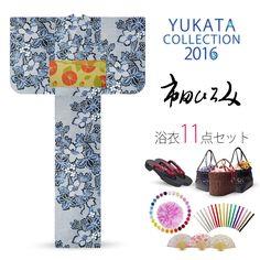 2016 Summer Hiromi Ichida women's Yukata set Navy blue white Kanoko pattern balloonflowers