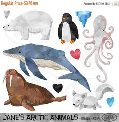 50% OFF Arctic Animals Clipart Arctic Winter by DigitalArtsi