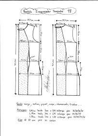 Esquema de modelagem de vestido tubinho que afina a silhueta tamanho 48.