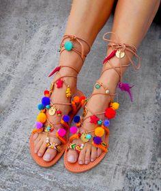 Tie Up Gladiator Sandals   Pom Pom Sandals ''Chili Martini''  #pompomsandals #bohosandals #gladiatorsandals