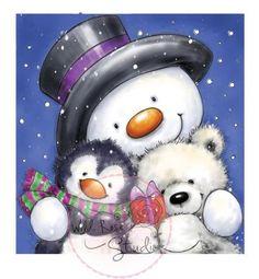 "Wild Rose Studio """"Snowman Hugs"""" Clear Stamp"