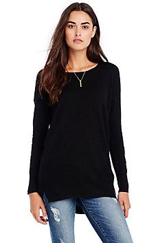 Great for layering over leggings.  Longer in back.  Also in red and super light grey.  Slouchy Tunic Sweater