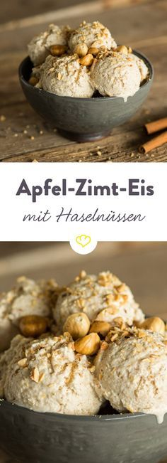 Apple and cinnamon ice cream with roasted hazelnuts- Apfel-Zimt-Eis mit gerösteten Haselnüssen A winter ice-cream to fall in love with: Spicy apples in creamy ice cream and a little crunch of hazelnuts with a roasted aroma. To melt away delicious. Healthy Dessert Recipes, Baby Food Recipes, Smoothie Recipes, Sweet Recipes, Healthy Drinks, Delicious Recipes, Vegan Recipes, Cinnamon Ice Cream, Cinnamon Apples