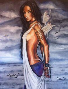 Entertaining Angels, The Art Of Storytelling, Black Angels, Angels Among Us, Angel Pictures, Black Art, Art Girl, Fantasy Art, Black Women