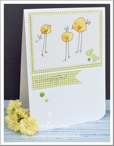 Chickadees and gingham card