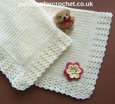 Stroller Blanket, free pattern from Patterns For Crochet.  Super-easy, just SC for body.  Pretty shell border  . . .  ღTrish W ~ http://www.pinterest.com/trishw/  . . . #crochet #afghan #throw #edging