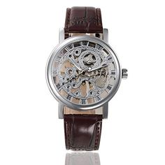 WINNER Unisex Skeleton Hollow HandWind Mechanical PU Leather Wrist Watches for MenWomenBrown ** Find out more about the great product at the image link.