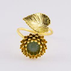 Bague lotus dorée et agate verte - Schade Jewellery