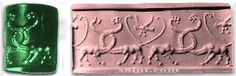 Sauropod on Mesopotamiun cylinder seal.  Thousands of years old.