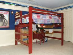 Loft bed with a desk under it. Great for a small bedroom!