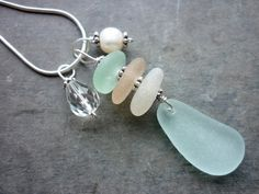 Sea Glass Necklace Pink and Aqua Beach by TheMysticMermaid
