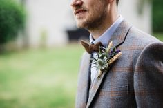 Bow Tie Groom Tweed Suit Wheat Thistle Buttonhole Camp Festival Style Chilled Wedding http://www.memoriesmilestones.co.uk/