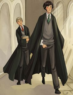 Sherlock and Watson as Hogwarts students, this oughta be fun :3