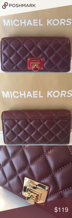 MICHAEL KORS NEW LARGE QUILTED WALLET AUTH MICHAEL KORS NEW NEVER USED WITH TAGS LARGE QUILTED WALLET 100% AUTHENTIC. SO VERY STUNNING AND STYLISH. PERFECT FOR ANY OCCASION AND THE WOMAN ON THE GO! SUCH A BEAUTIFUL WALLET! THE COLOR IS CALLED MERLOT WHICH IS A DEEP RED. THIS WALLET HAS IT ALL. LARHE CENTER ZIP COMPARTMENT, TWO ROOMY BILL SECTIONS, TWO ROOMY MAIN COMPARTMENTS THAT CAN FIT YOUR PHONE AND A AMAZING 16 WALL CARD SLOTS! THIS WALLET MEASURES 8 INCHES WIDE AND A LITTLE OVER 4…