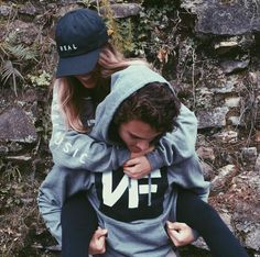 couple | young | black and grays | casual saturdays | piggyback rides | hoodies & hats