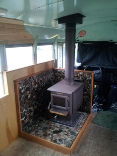 wood stove--another cool woodstove idea for use in a school bus conversion to mobile home.