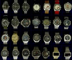 Top row - Seamaster 60, 3 Speedmasters, 2 Seamaster 'Soccer Timer' chronographs, Chronostop Bullhead. Second row - Seamaster 300, Seamaster 200, PloProf, unsure, Flightmaster x 2, Pilot line speedmaster mk 3 with blue horizon subdials! Third row - Seamaster, 2 1040 Seamaster chronographs, 2 Speedmaster Mk II's, Seamaster 200m, Seamaster 861 chronograph. Bottom row - Speedmaster mk V, Speedmaster mk 4.5, Speedmaster 125, Chrono/Quartz, Speedsonic, Omega Time Computer x 2