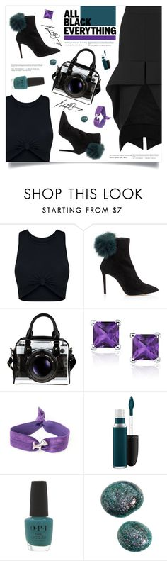 """""""Black Friday"""" by marina-volaric ❤ liked on Polyvore featuring Maticevski, Tesler, MAC Cosmetics, OPI and allblack"""