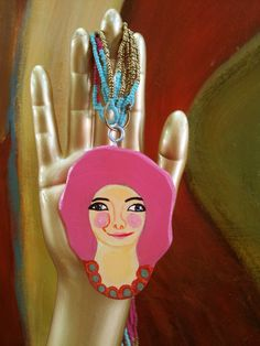 Painted wood necklace  long pink pendant necklace  wearable art necklace  illustrated jewelry  retro painting woman portrait naive art wooden illustrated Painted wood necklac wearable art illustrated jewelry Wood pendant Hand painted pendant Wearable art jewelry Pendant necklace pink hair pendant retro painting pendatnt necklace 35.00 USD #goriani