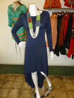Long Sleeve dress with hi-lo hem in Navy!