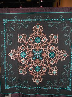 Beautiful Applique. Reminds me of inlaid wood & turquoise