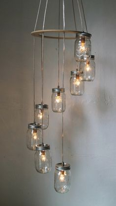 mason jar lamps and chandeliers