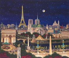 """Liudmila Kondakova Hand-signed and Numbered Limited Edition Canvas:""""City of Dreams"""" Artist:Liudmila Kondakova Title: City of Dreams Image Size: 30 x 36 Medium: Hand-signed archival print on canvas About the Artist: Her paintings are Monuments, Canvas Painting Designs, Paris Painting, Animal Crossing Game, Paris Art, Universe Art, Dream City, Environment Concept Art, Cute Wallpaper Backgrounds"""