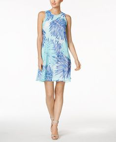 Calvin Klein Petite Floral-Print Trapeze Dress | macys.com