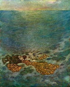 The maiden is lovely, but what is really beautiful is how the water was handled in this Edmund Dulac illustration.